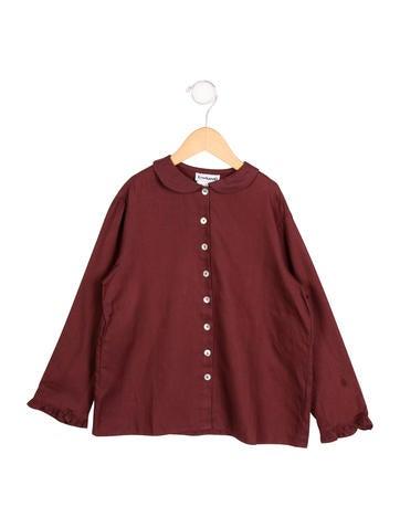 Cacharel Girls' Ruffle-Trimmed Button-Up Shirt None