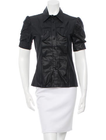 Cacharel Ruffled Button-Up Top None