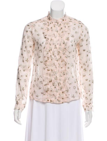 Cacharel Floral Button-Up Top None