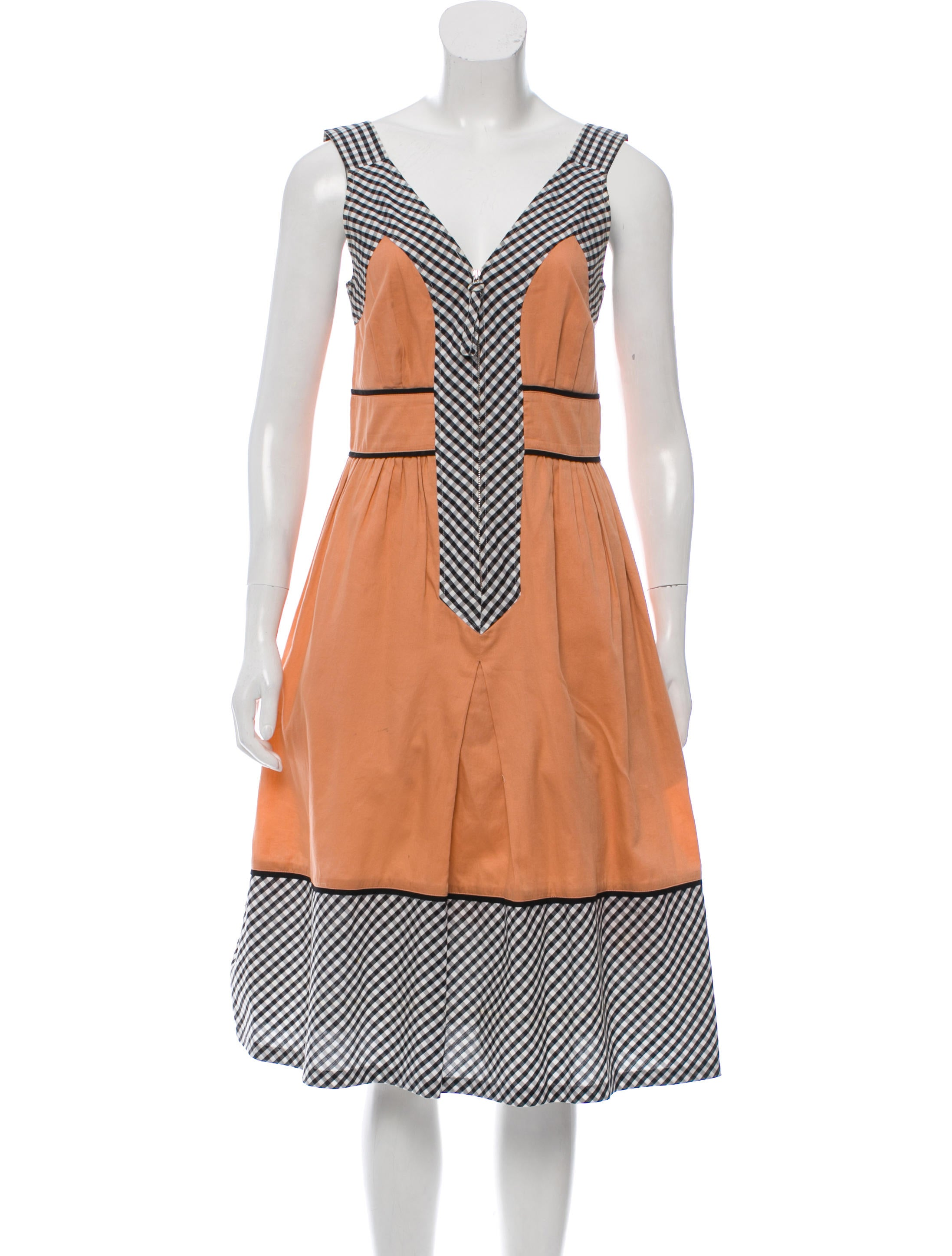 044a716821c Cacharel Gingham-Accented Sleeveless Dress - Clothing - CAC22782 ...