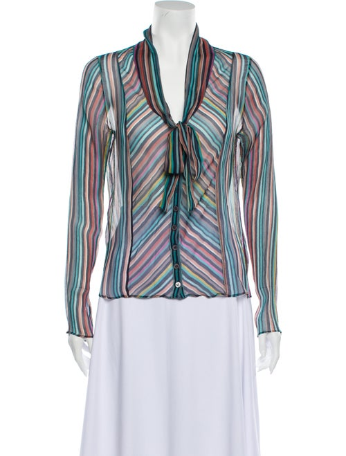 Cacharel Striped Tie Neck Blouse Blue