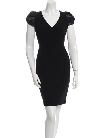 Carmen Marc Valvo Wool & Silk Sheath Dress