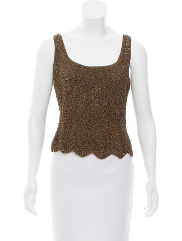 Carmen Marc Valvo Embellished Metallic Top None