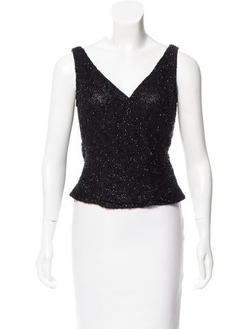 Carmen Marc Valvo Embellished Sleeveless Top None