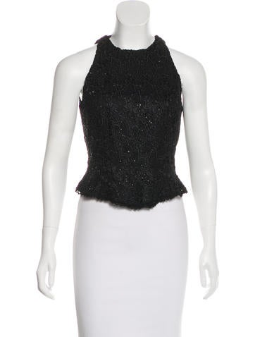 Carmen Marc Valvo Sleeveless Embellished Top None