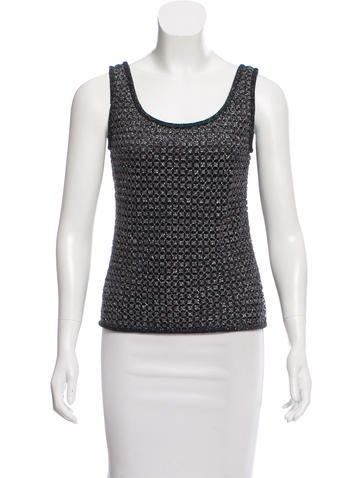 Carmen Marc Valvo Metallic Sleeveless Top None