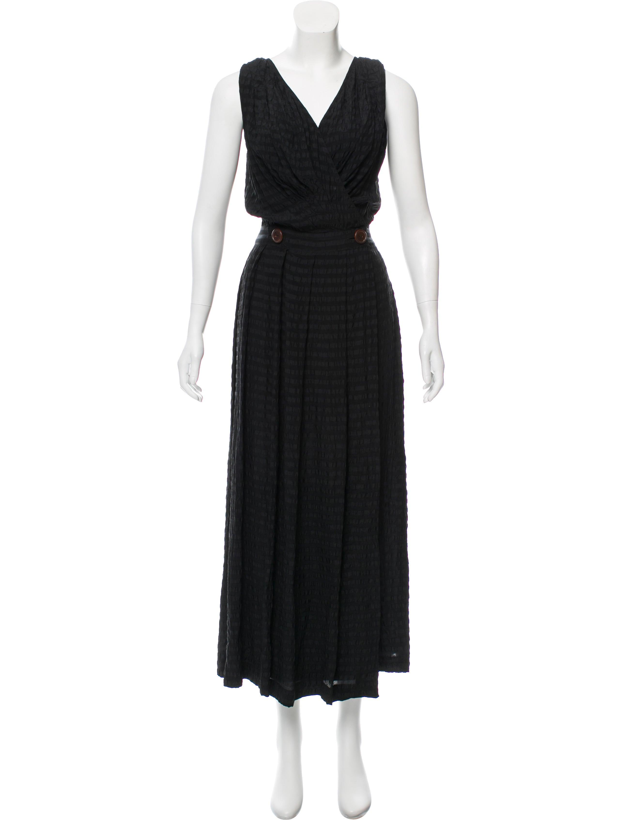 Carmen Marc Valvo Silk Seersucker Dress - Clothing - CAE20919 | The ...