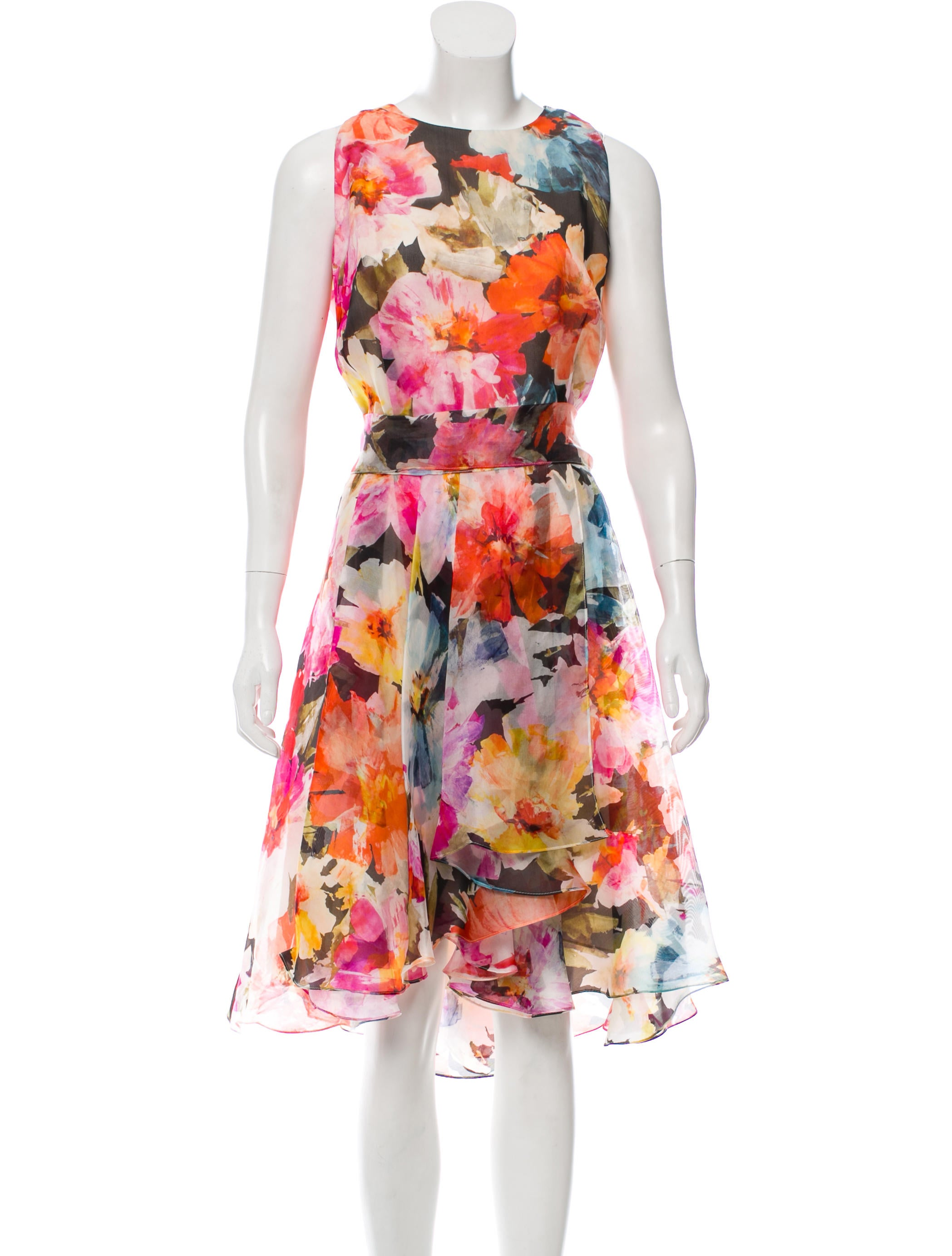 Carmen Marc Valvo Silk Floral Dress Clothing Cae21107 The Realreal