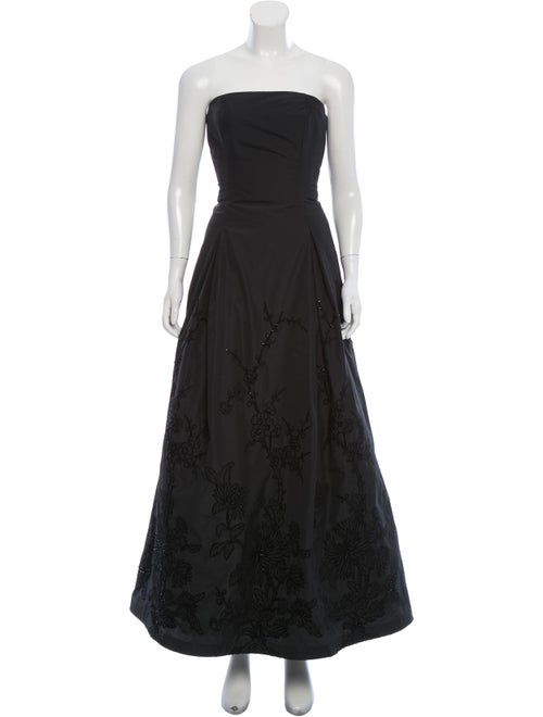 Carmen Marc Valvo Beaded Evening Gown Black