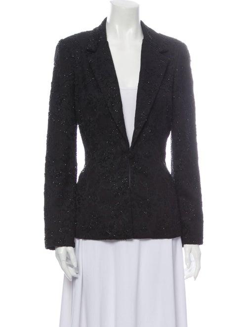 Vintage 80s Carmen Marc Valvo Linen Soutache Suit 1980s Navy Blue Jacket and Skirt Set Broad Shoulder Size Large