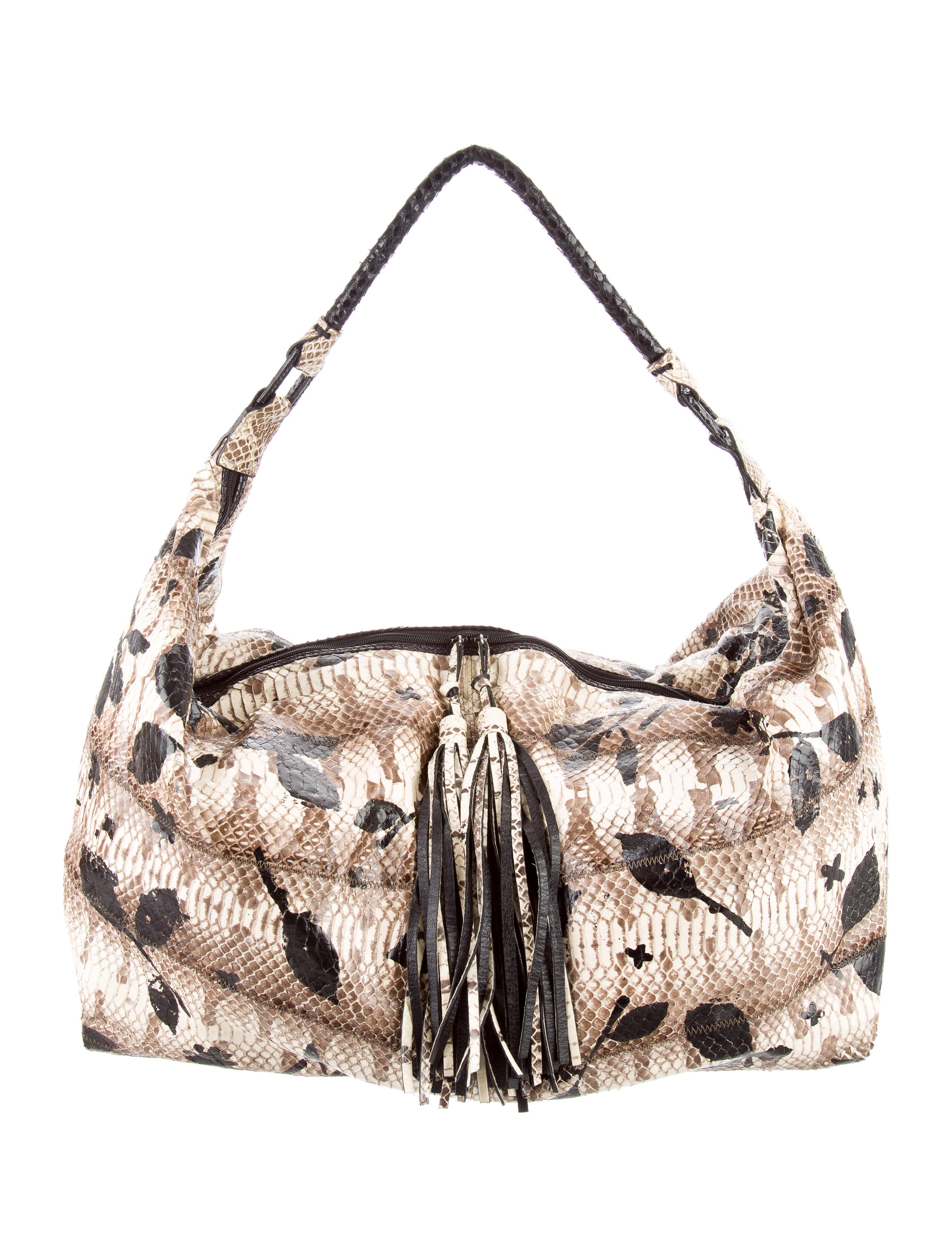 Small faceted beads grace the front of this roomy snakeprint hobo bag, creating a touch of shimmer. Zip closure Three interior pockets 14