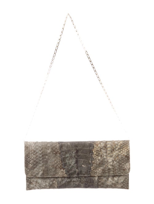 Carlos Falchi Crocodile & Python Clutch grey