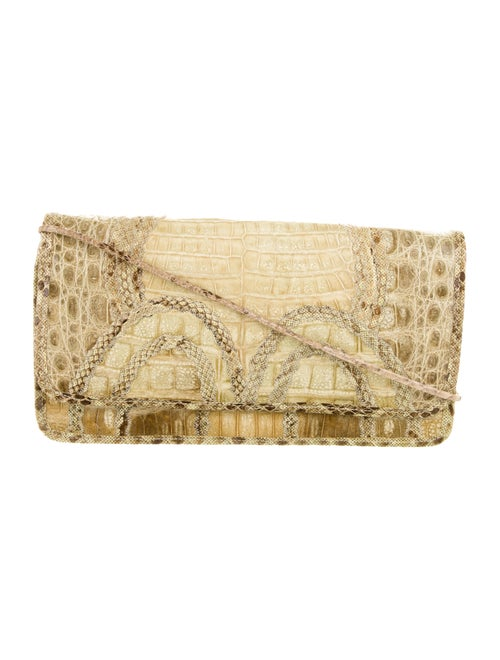 Carlos Falchi Alligator Shoulder Bag Beige