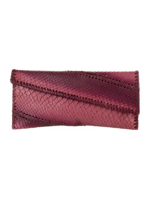 Carlos Falchi Python Flap Clutch Pink