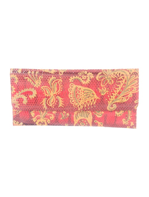 Carlos Falchi Printed Snakeskin Clutch Red