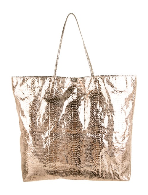 Carlos Falchi Embossed Tote Gold