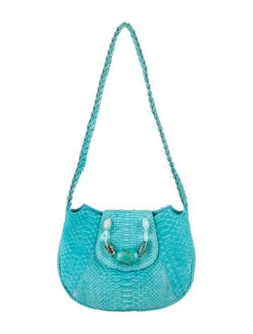 Carlos Falchi Snakeskin Shoulder Bag Blue