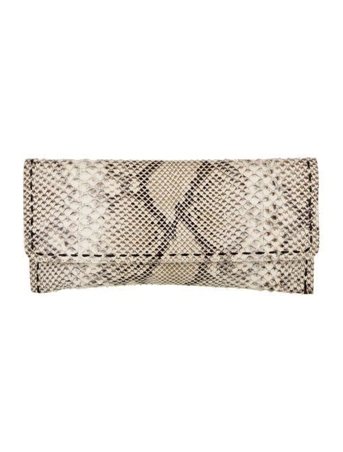 Carlos Falchi Python Clutch Bag Silver