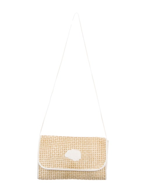 Carlos Falchi Woven Straw Flap Shoulder Bag Gold