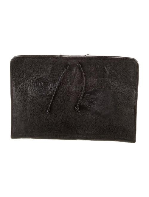 Carlos Falchi Leather Laptop Case Black