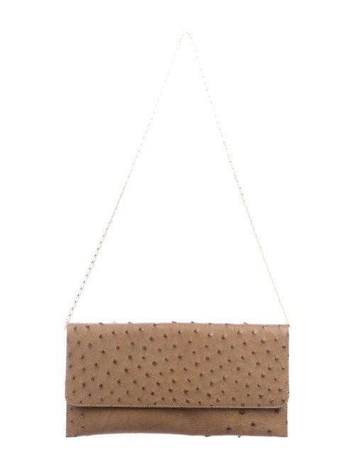 Carlos Falchi Ostrich Leather Clutch Brown