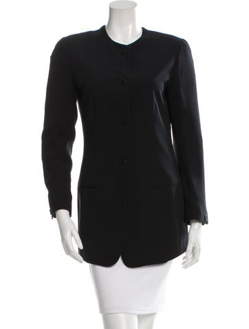 Calvin Klein Collection Collarless Silk Jacket None
