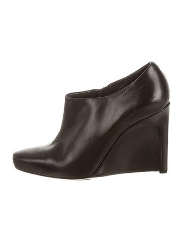 calvin klein collection leather wedge ankle boots shoes