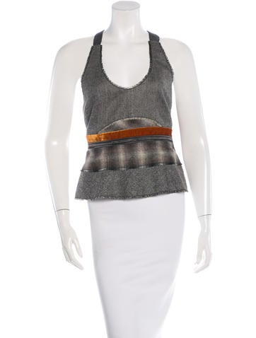 Calvin Klein Collection Wool Two-Tone Top None