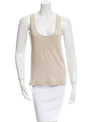 Calvin Klein Collection Scoop Neck Wool Top None