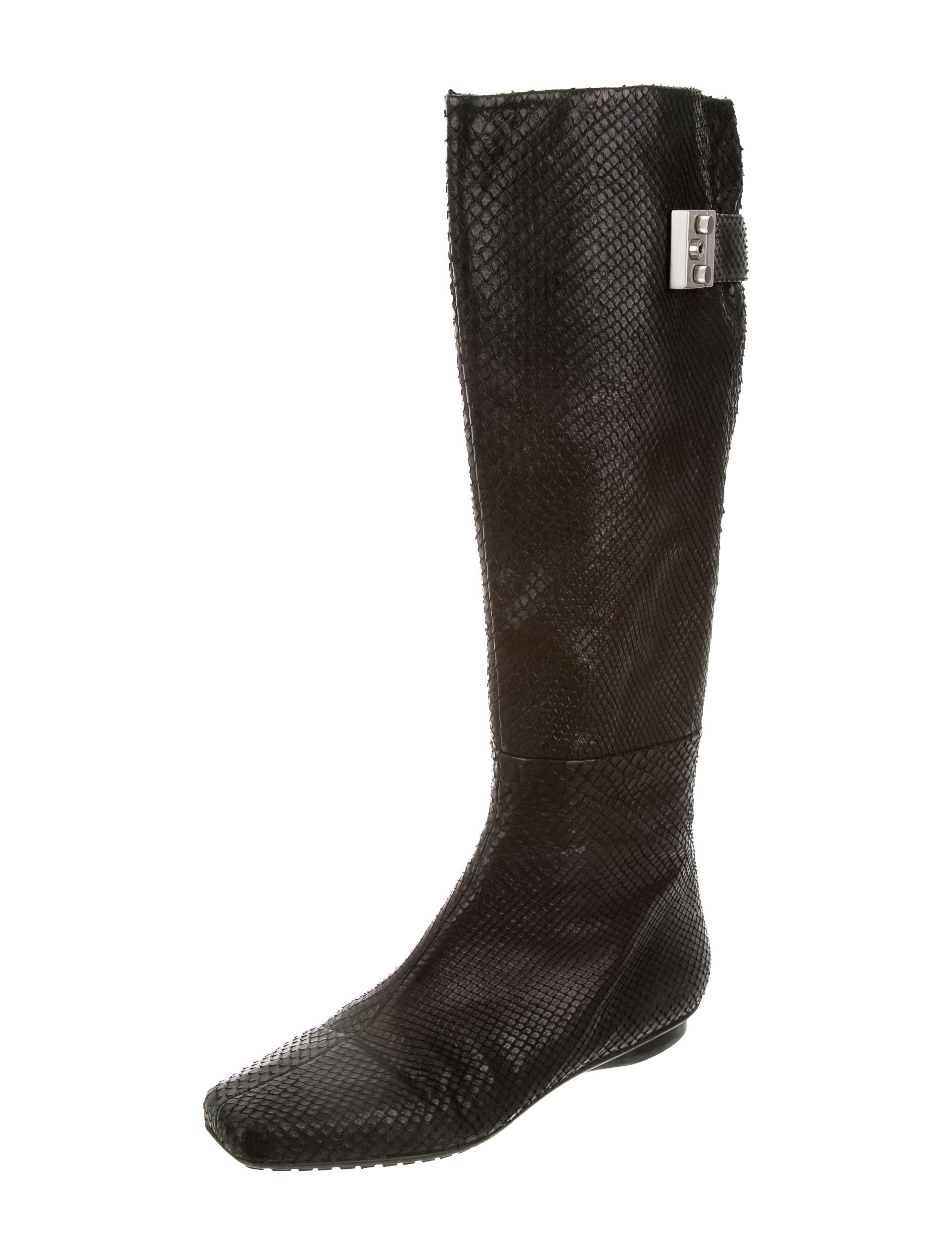 calvin klein collection snakeskin knee high boots shoes