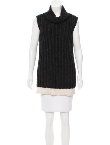 Calvin Klein Collection Cable Knit Cowl Neck Tunic None