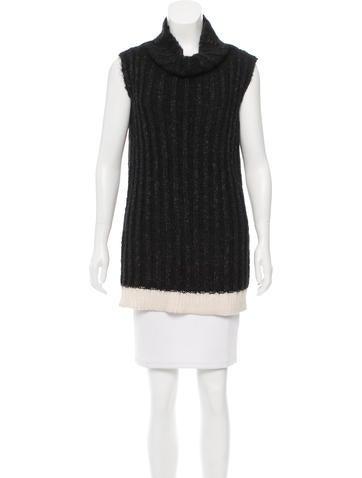 Calvin Klein Collection Cable Knit Cowl Neck Tunic None