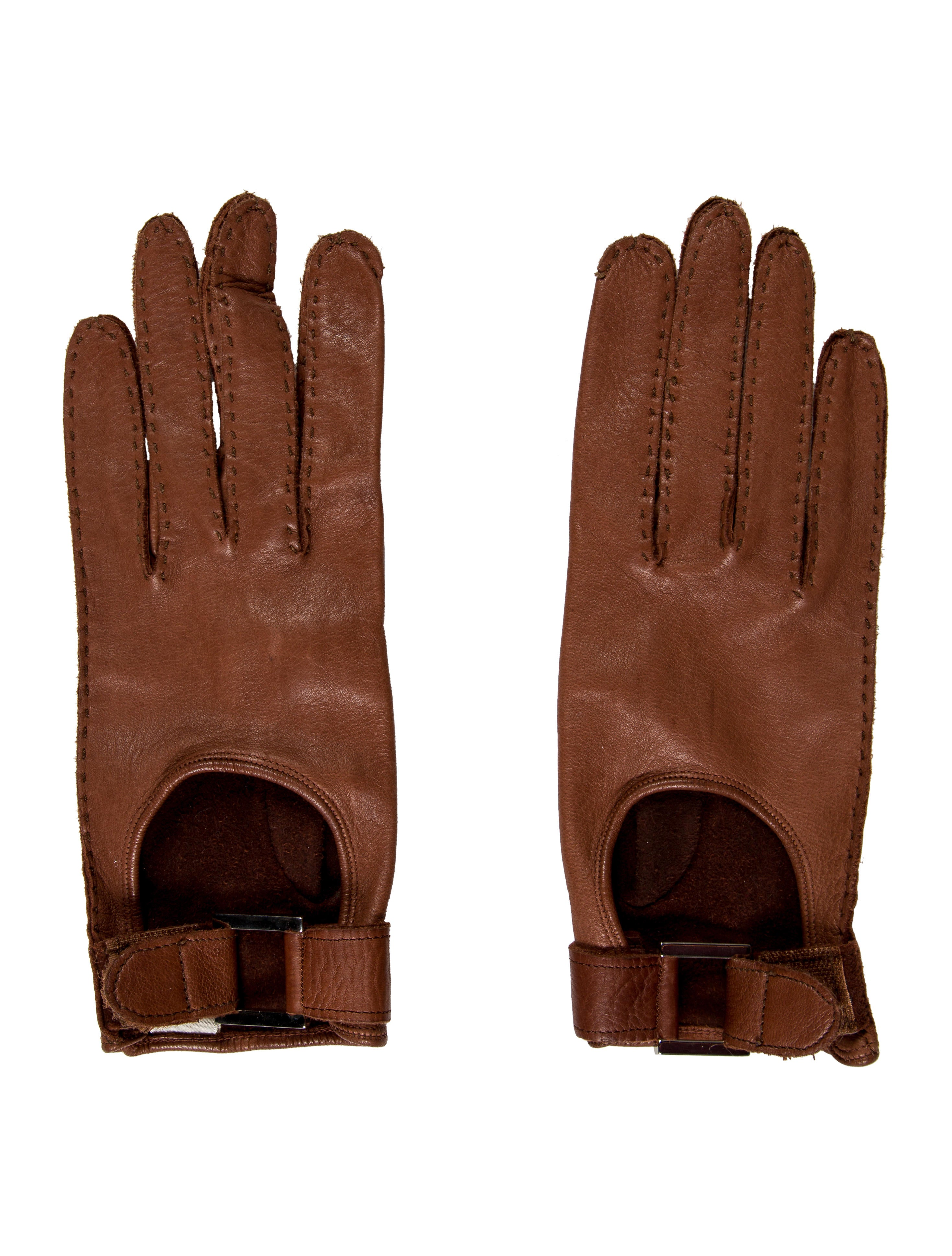 calvin klein collection brown leather gloves accessories