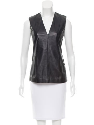 Calvin Klein Collection Leather Sleeveless Top None