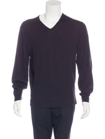 Calvin Klein Collection V-Neck Woven Sweater None