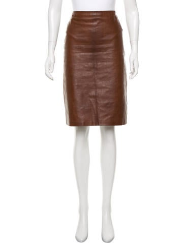 Calvin Klein Collection Leather Knee-Length Skirt None