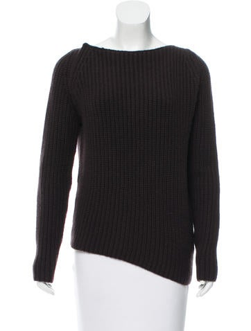 Calvin Klein Collection Leather-Trimmed Cashmere Sweater None