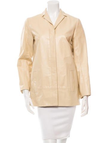 Calvin Klein Collection Notch Lapel Leather Coat None