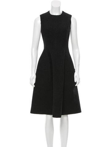 Calvin Klein Collection Leather-Accented Midi Dress None