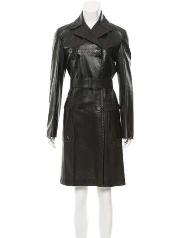 Calvin Klein Collection Leather Belted Coat