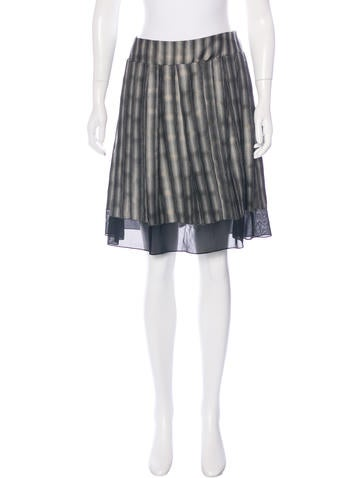 Calvin Klein Collection Sheer-Trimmed Printed Skirt None