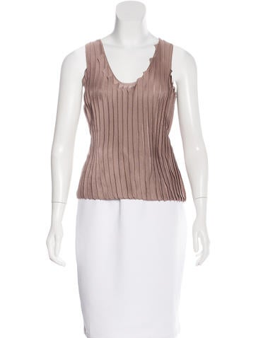 Calvin Klein Collection Pleated Knit Top w/ Tags None