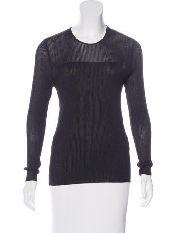 Calvin Klein Collection Metallic Rib Knit Sweater None