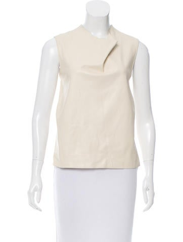 Calvin Klein Collection Leather Front Knit Top None