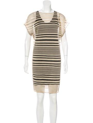 Calvin Klein Collection Rib Knit Striped Dress None