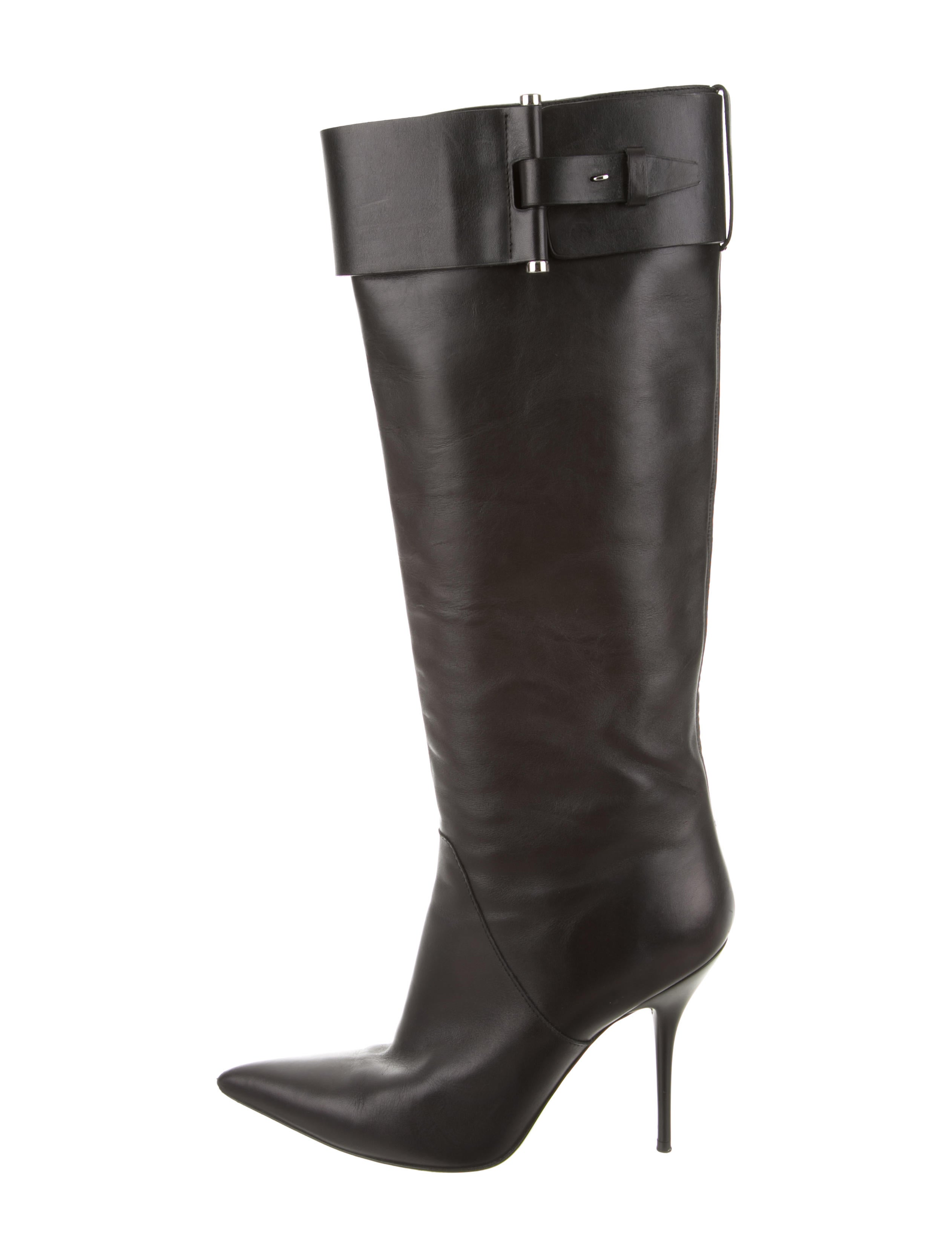 calvin klein collection leather knee high boots shoes