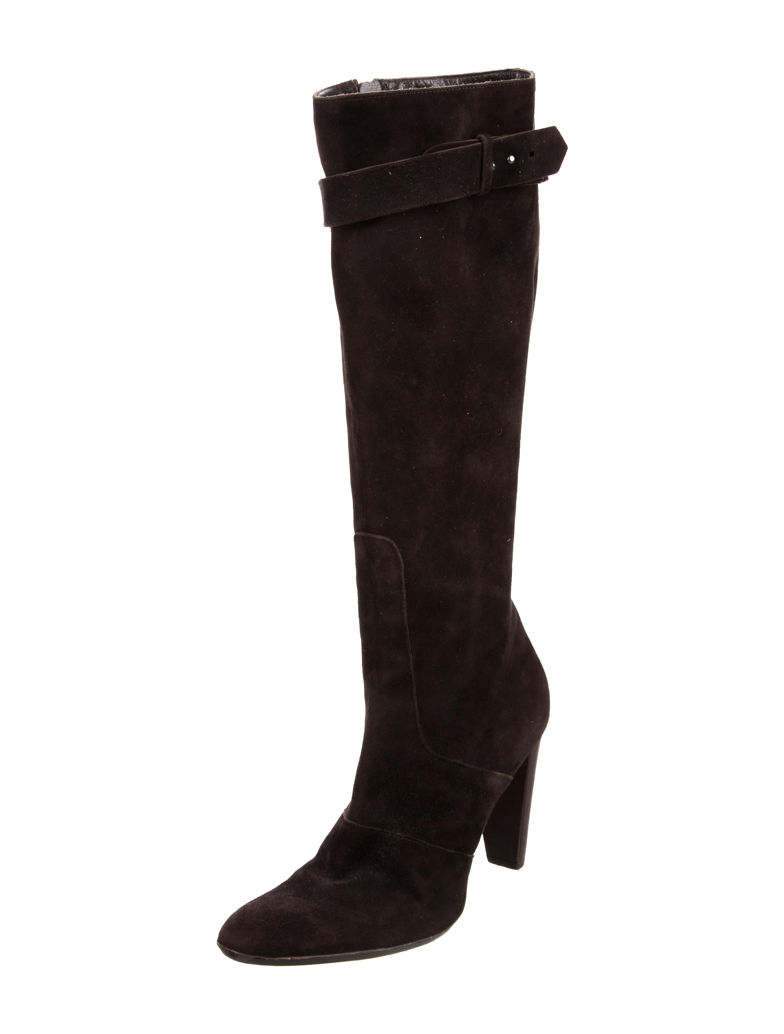 calvin klein collection suede knee high boots shoes