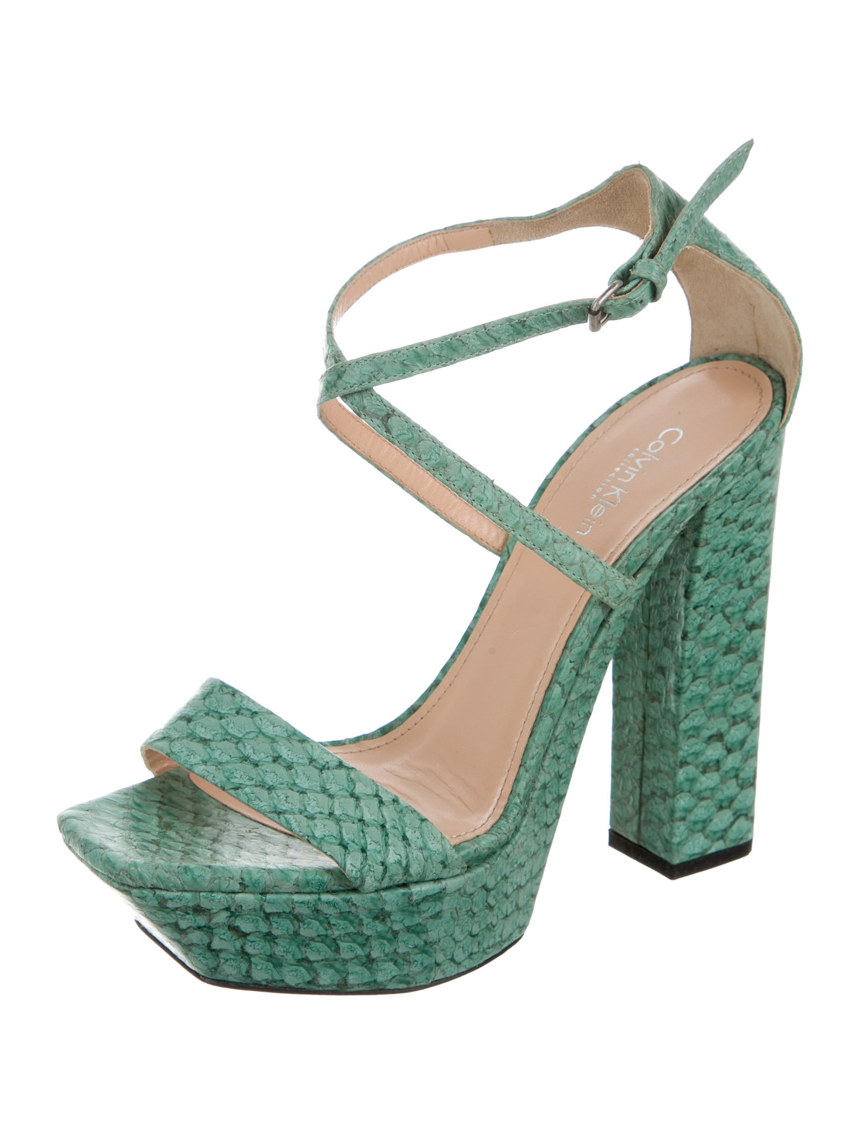 Calvin Klein Collection Embossed Leather Platform Sandals