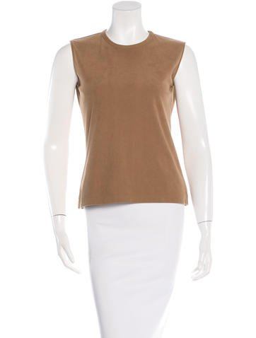 Calvin Klein Collection Sleeveless Microsuede Top None