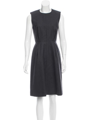 Calvin Klein Collection Pleated Wool Dress None